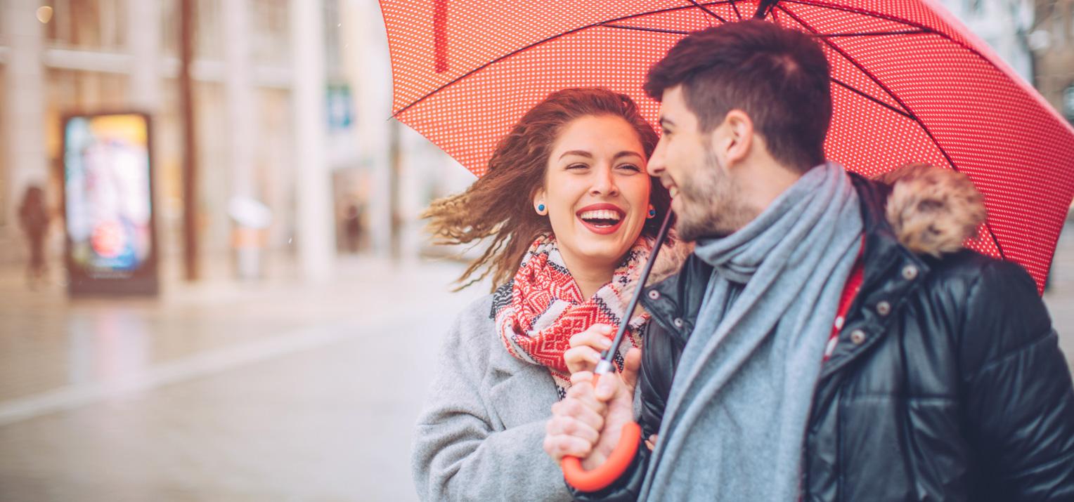 Couple under umbrella